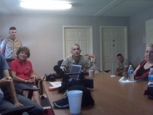Morning meeting with the Marines