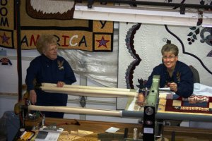 Virgina (Gail's mom), Gail, & longarm quilting machine
